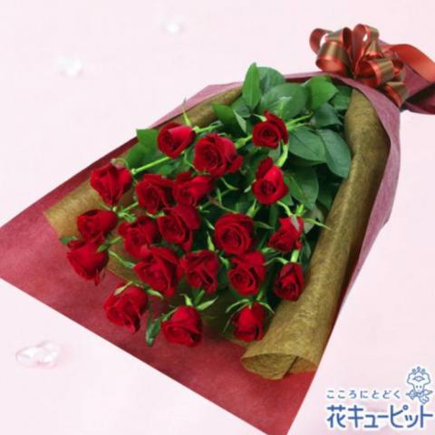赤バラのみ花束